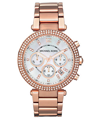 Michael Kors Women's Chronograph Parker Rose Gold-Tone Stainless Steel Bracelet Watch 39mm MK5491 - Watches - Jewelry & Watches - Macy's