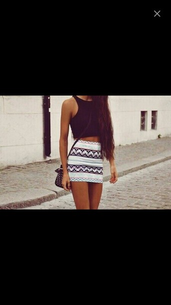 skirt mini skirt aztec tight
