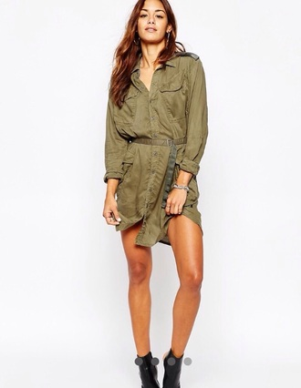 dress robe blouse military style camouflage army green safari