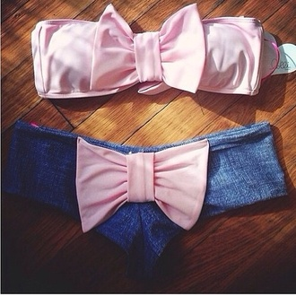 swimwear ribbon pink bikini beach bow blue