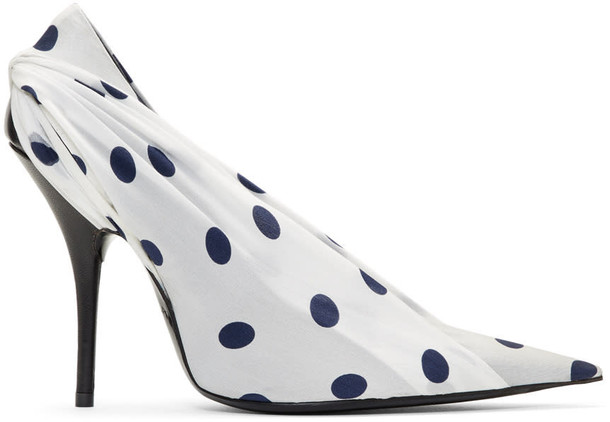 Balenciaga heels polka dots navy white shoes