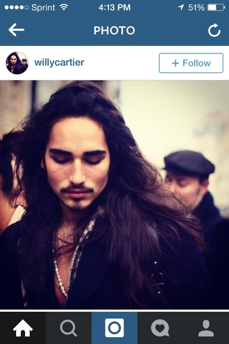 jacket willy ca willy cartier necklace sexy long hair style fashion
