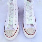 shoes,rhinestones,rhinestone converse,wedding shoes,converse,wedding,cool wedding shoes,rhinestone shoes,high top converse,white shoes