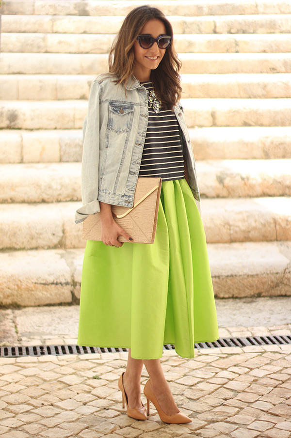 besugarandspice skirt t-shirt jacket sunglasses bag jewels shirt green skirt