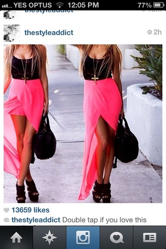 skirt pink black top see through mesh top lace top black lace black lace top wedges black shoes black bag pink skirt asymmetrical pink maxi skirt asos dress pink dress long&shot neon pink
