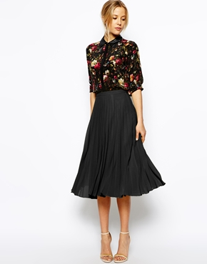 ASOS Pleated Midi Skirt at ASOS