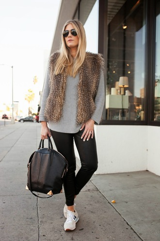 devon rachel blogger bag sunglasses nike shoes fluffy beige fur vest pants black pants black leather pants leather pants sweater grey sweater black bag