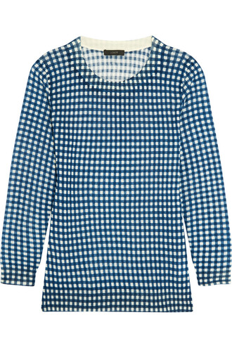 sweater wool sweater wool gingham blue