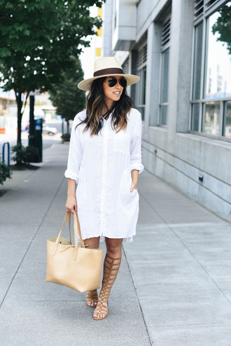 dress tumblr shirt dress mini dress sandals gladiators bag nude bag felt hat hat sunglasses shoes