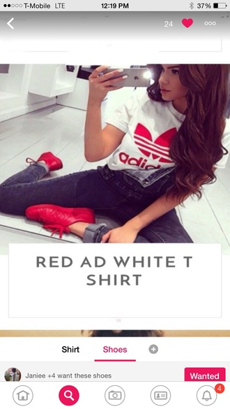 shoes red t-shirt adidas wings acid wash jeans overalls denim overalls