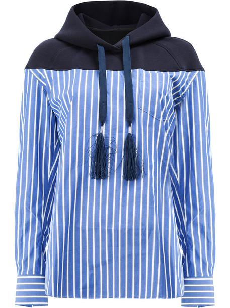 Sacai hoody women cotton blue sweater