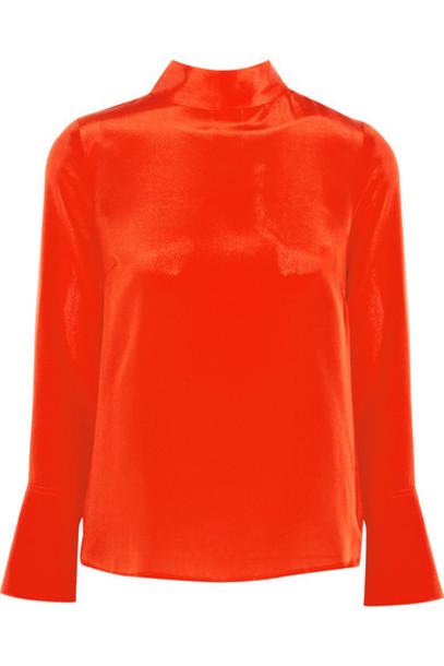 J.Crew top draped silk orange