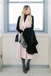 a little dash of darling,blogger,pink dress,turtleneck,black sweater,shoulder bag,black coat,boots,winter outfits,black turtleneck top,blazer dress,midi dress,black top,grey boots