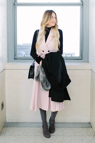 a little dash of darling blogger pink dress turtleneck black sweater shoulder bag black coat boots winter outfits black turtleneck top blazer dress midi dress black top grey boots