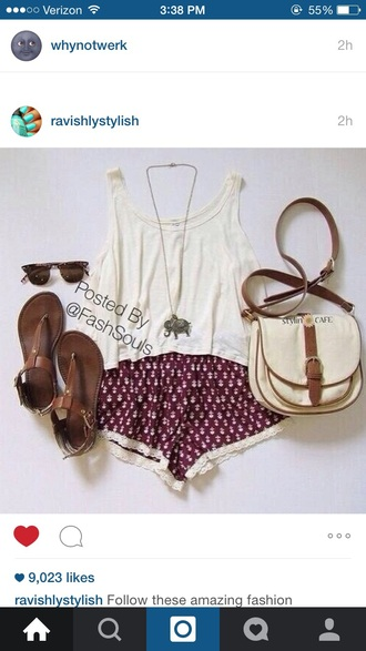 shorts burgundy shorts white tank top white top sandles bag sunglasses elephant necklace shirt jewels