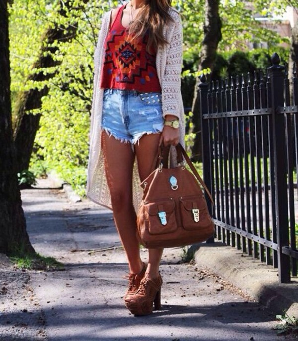shirt tribal pattern bag shorts shoes sweater jewels