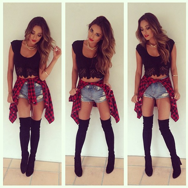 shoes thigh highs PLLW2G pretty little liars boots blouse black red dress jeans shorts High waisted shorts denim shorts crop tops lace leggings socks ripped shorts torn denim shorts flannel top free vibrationz knee high boots lace top crop tops make-up plaid emily fields