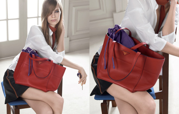 bag sac prada rouge cabas cuir