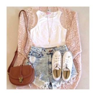 cardigan beige cute flowy shorts tank top bag