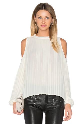 blouse pleated cream top