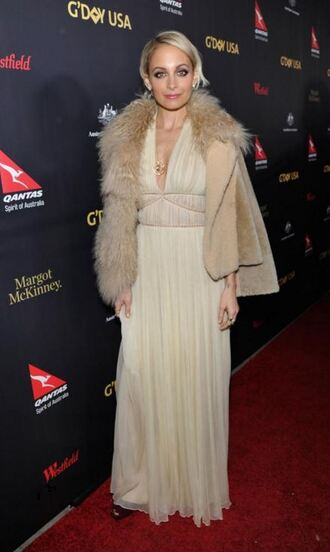 dress nicole richie gown maxi dress fur nude