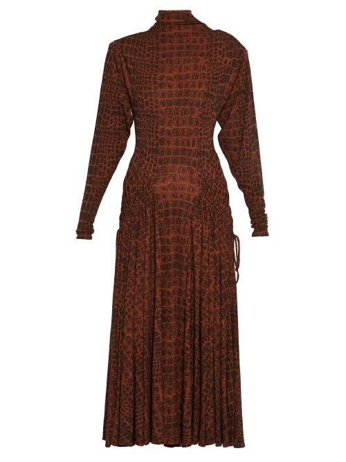 Proenza Schouler - Crocodile Print Jersey Midi Dress - Womens - Black Brown