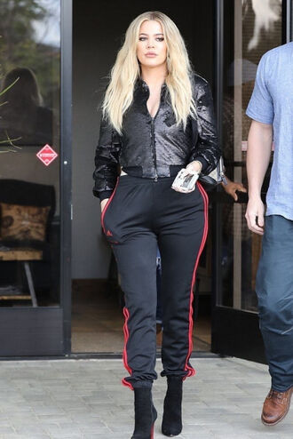 pants sweatpants jacket khloe kardashian kardashians fall outfits streetstyle