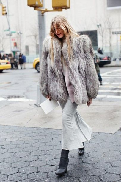 Coat: all grey everything, all grey outfit, fur coat, grey coat ...