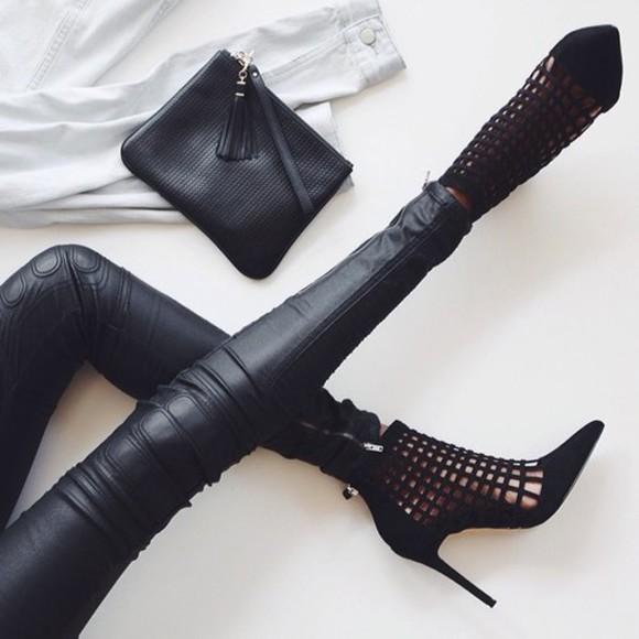 leggings fashion style high heels pants bag purse