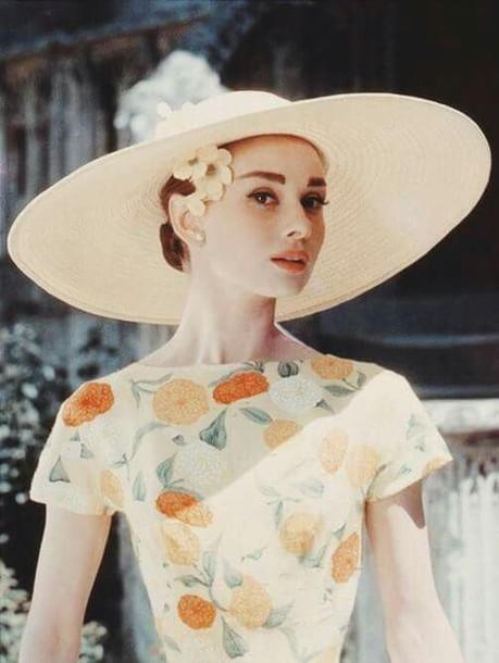 535538b88eb hat big hat straw hat sun hat audrey hepburn actress make-up top floral top