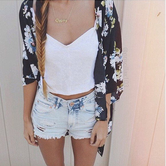 necklace braid jewels jacket sweater hat tank top floral white tank top shorts black cardigan shirt flowers wheretoget?
