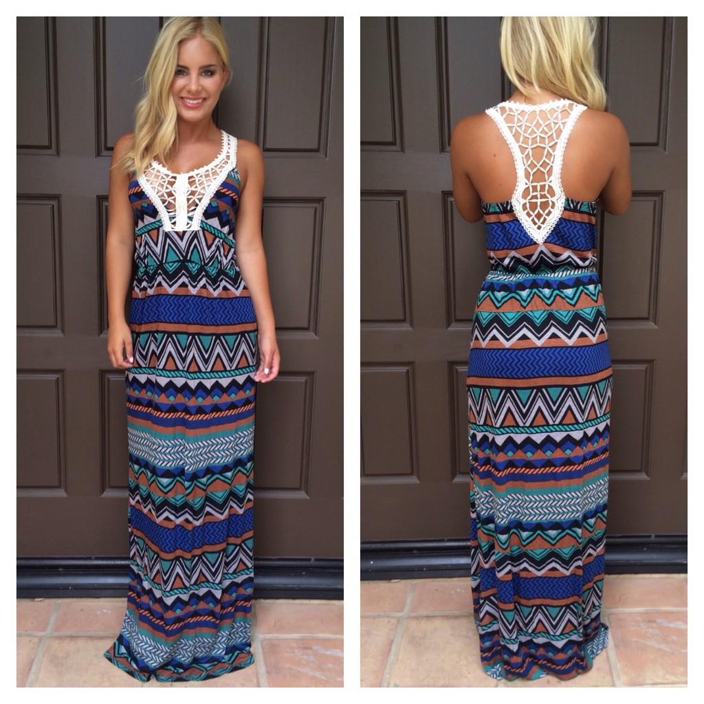 Aztec Print Crochet Maxi Dress