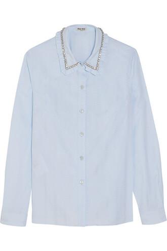 shirt jacquard embellished cotton blue sky blue top