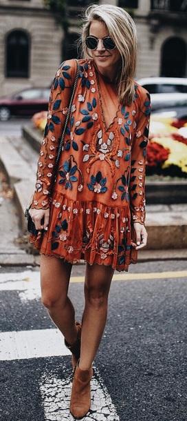 dress orange dress embroidered dress embroidered boho dress