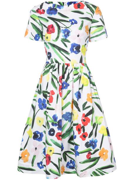 oscar de la renta dress floral dress women spandex floral white cotton