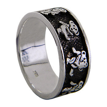 Grateful Dead Dancing Bears Sterling Silver Band by jewelkingthai