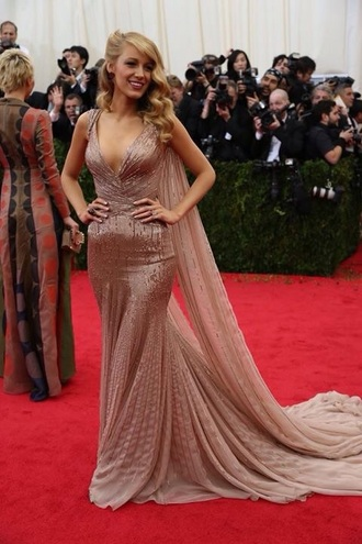 celebrity celebrity style dusty pink blake lively floor length dress