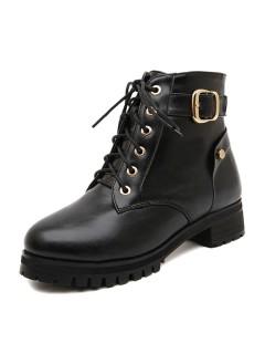 Black Lace-up Bike Boots - Choies.com