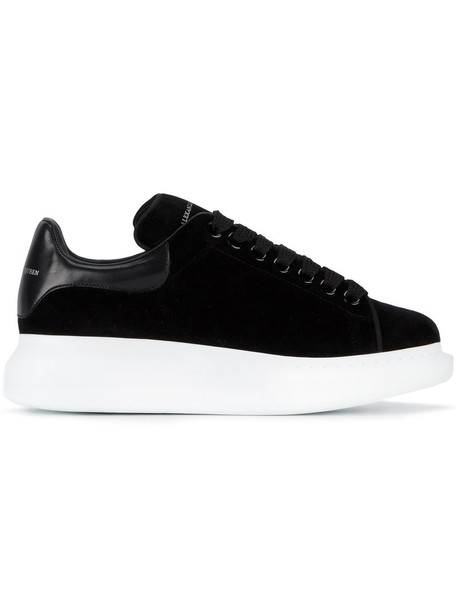 Alexander McQueen - platform sneakers - women - Velvet/Leather - 35, Black, Velvet/Leather