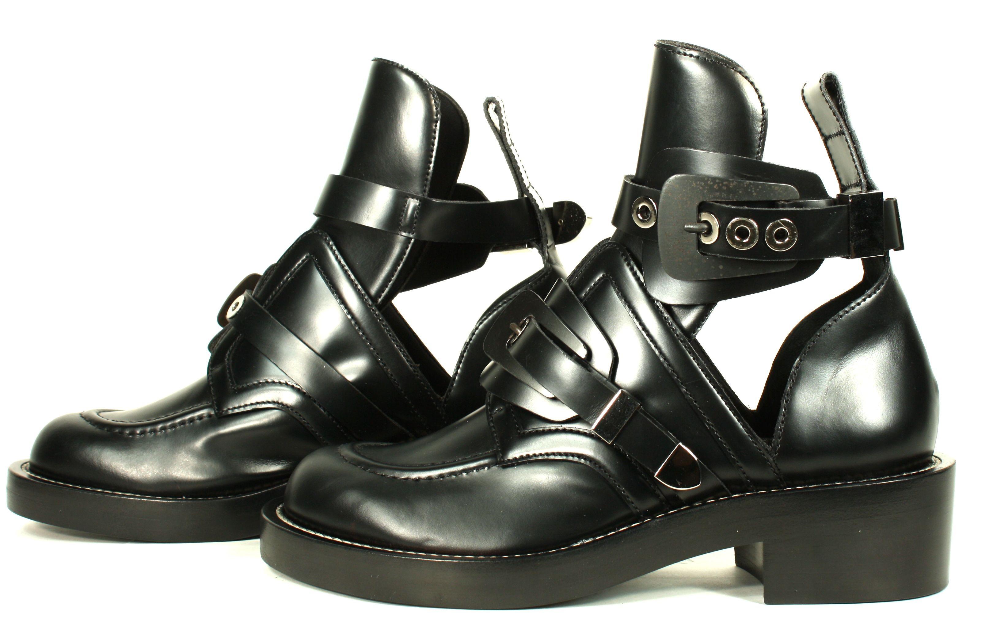 Balenciaga Black Leather Cut Out Boots sz 38.5  7796091f5e8f