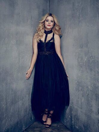 dress gown alison dilaurentis sasha pieterse sandals prom dress maxi dress black dress pretty little liars