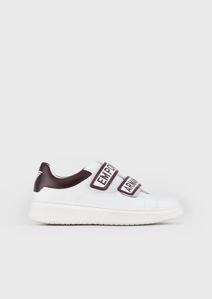 Leather sneakers with logoed Velcro