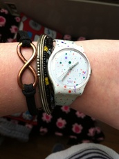 jewels,watch,girly,romantic,india love,hipster,swag,swatch,white,pretty little liars,pretty,smeared coloured