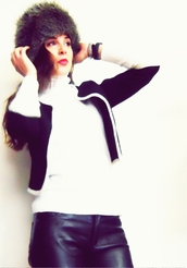 fur hat,leather pants,hat,jacket