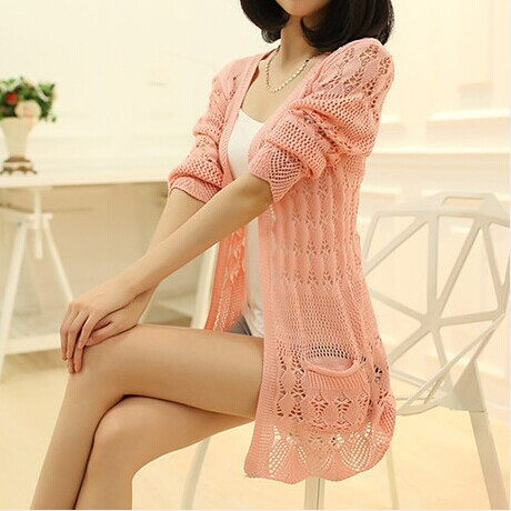New summer 2014 fashion women lace sweet 6 color crochet soild knitwear blouse full sleeve sweater cardigan free shipping
