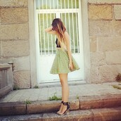 skirt,green,yellow,high waisted