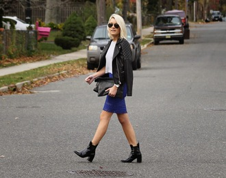 jewels top blue skirt bag blogger jacket leather jacket platinum and penniless black boots aviator sunglasses quilted