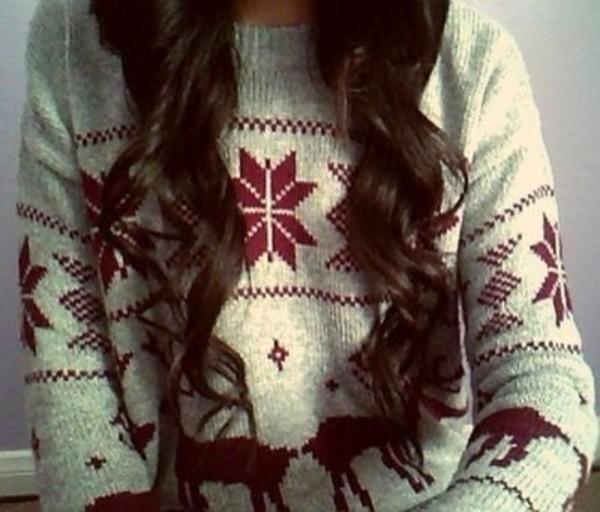 sweater jumper deer winter sweater snowflake