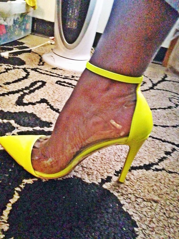 Ankle Strap Pointy Toe Fluorescent Yellow High Heels For Party ...