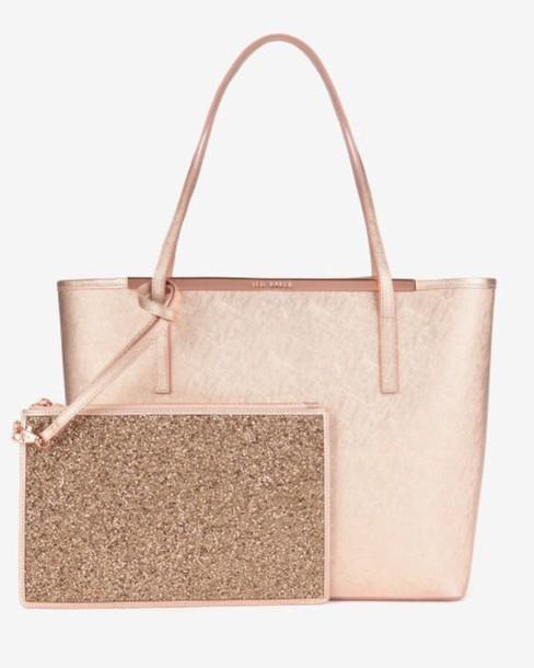 bag, rose gold, ted baker, metallic, tote